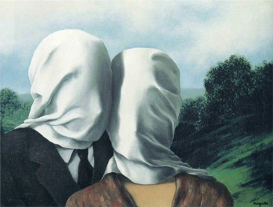 The Lovers 1, 1928 by Rene Magritte